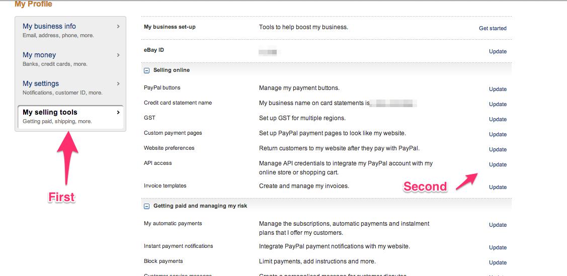 Infusionsoft Paypal My Profile