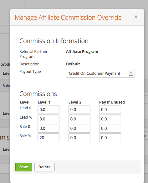 Setting the Affiliate Commission