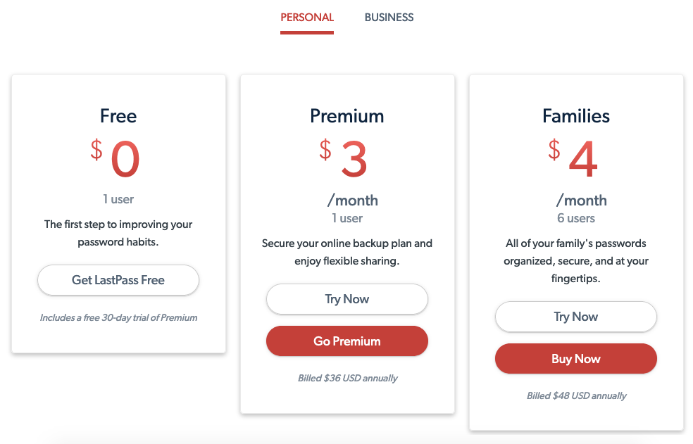 LastPass Personal Pricing & Plans