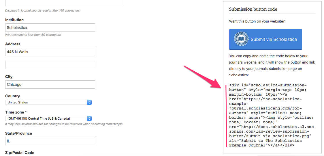 Image of submission button code on Scholastica Settings page