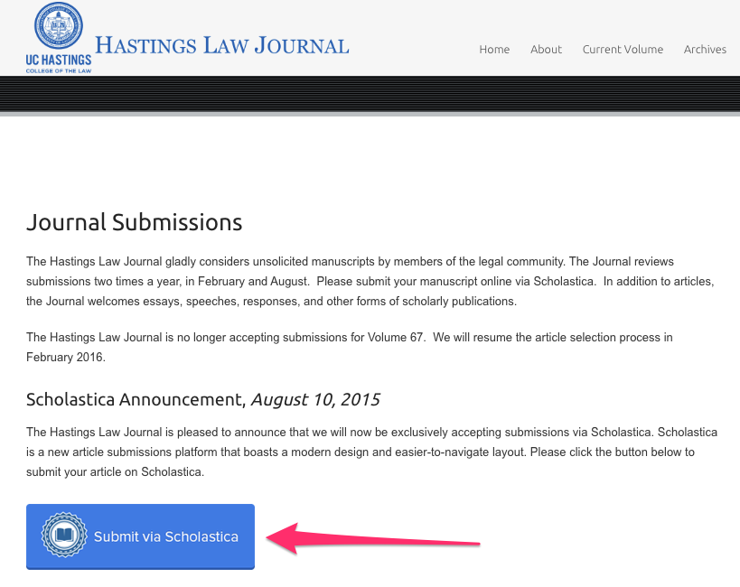 Image of a Scholastica submission button on Hastings Law Journal's site