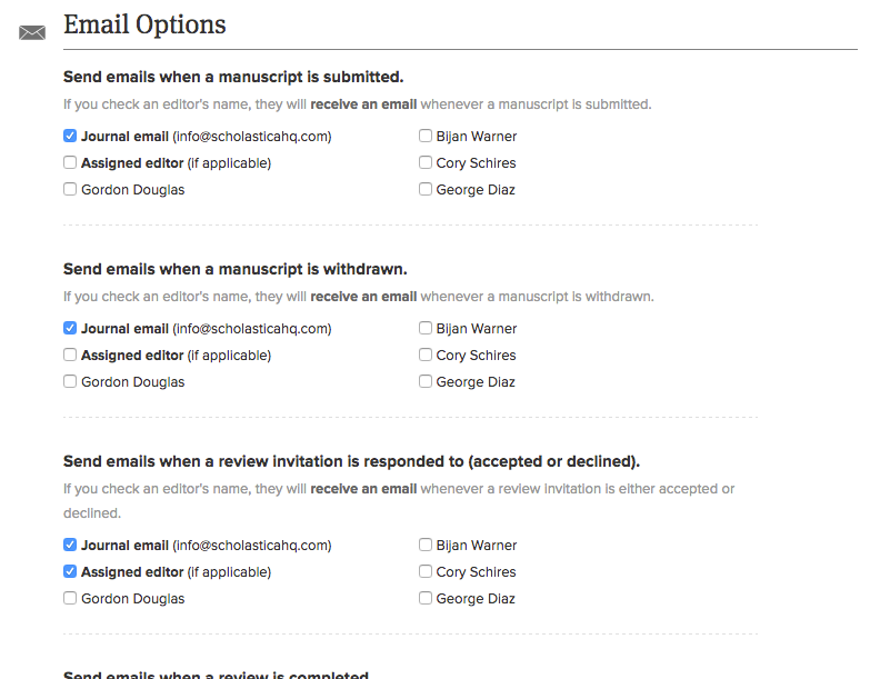 Image of some of the available email options on Scholastica