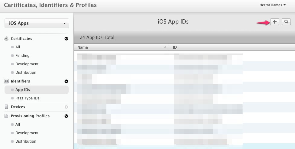 Register new iOS App ID