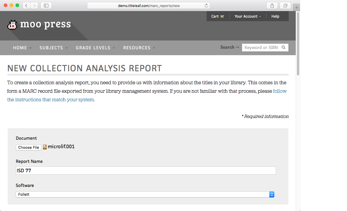 Collection analysis report form, required fields