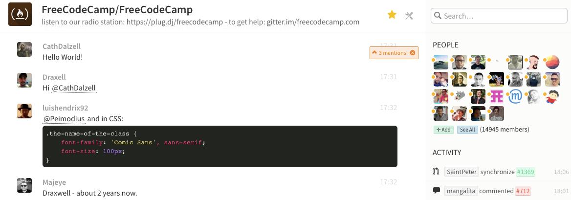 A screenshot from Gitter
