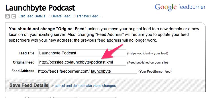 setting up podcast.xml on feedburner